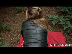 Eurobabe shows off ass and screwed in the woods for money