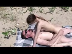My stepfather fucking my tight little pussy on the beach