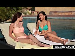 Ellena and Nina lesbians pool fingering kissing