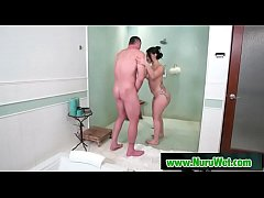 Sexy Mandy Muse gets soapy handjob to Charles Dera