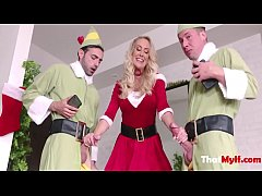Blonde MILF Mom Fucks Her Two Elfs- Brandi Love