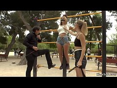 Mona Wales and Steve Holmes dominating and disgracing two hot slave babes Juliette March and Valeria Blue in public park gym then in bar fucking them