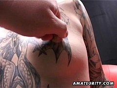 Tattooed amateur Milf homemade blowjob with cumshot