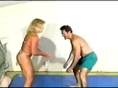 mixed wrestling with a strong fbb- YouTube