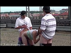 Cum on Alexis Crystal face in PUBLIC gang bang threesome sex at a train station
