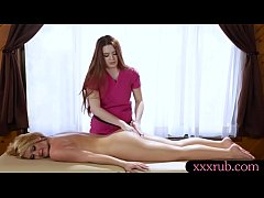 Busty masseuse lesbian sex with her sexy blonde client