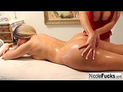 Nicole oils up Trina's bubble butt