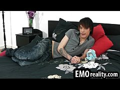 Sexy and young emo twink with make up and piercings getting naked