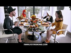 cute young tiny stepdaughter rosalyn sphinx and stepdad fuck next to sexy big tits stepmom brooklyn chase and stepson during thanksgiving dinner