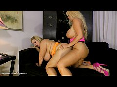 Busty Blonde Karen Fucks Fat Ass Samantha 38G with Strap On