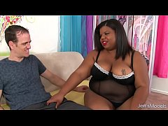 Chubby young black girl gets white cocked