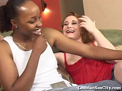 Horny Interracial Lesbians Get Hardcore With Strap-On