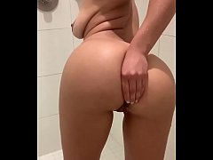 Latina in the shower teasing us with toy in ass