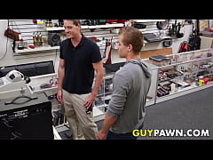 Handsome young stud spitroasted by BDSM pawn brokers