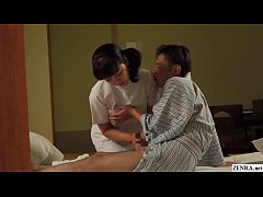 JAV granny masseuse with horny client ends up giving him a handjob that leads to him returning the favor in HD with English subtitles