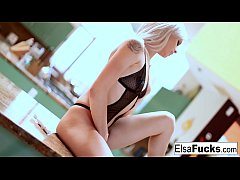 Teen cutie Elsa plays with herself in the kitchen