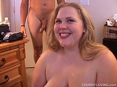 Busty blonde BBW is a super hot fuck and loves a facial cumshot