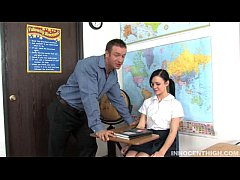 Small tit brunette girl gives her teacher a nice hard blowjob and fuck to avoid