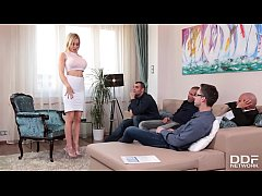Job interview with busty bombshell Chessie Kay leads to blowjob orgy with 4 studs