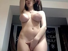 cute girl with large tits-shaking orgasms on we...