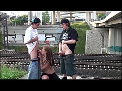 Cum on Alexis Crystal face in PUBLIC threesome by a railroad