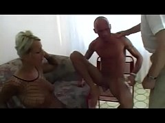 fishnet slut rimming a lucky guy