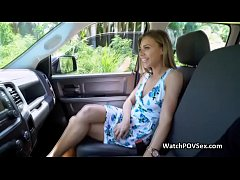 Hot hillbilly joins couple on backseat
