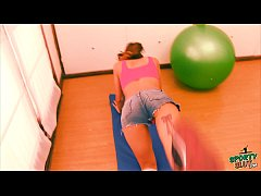 Perfect Booty Teen Working Out In Short Jeans! ...