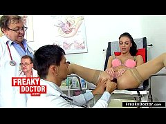 Czech blonde Tina hairy cunt gynecological exam