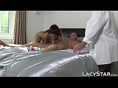 Luscious babe sucks dick before old vs young threeway