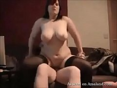 Horny BBW in stockings sucks and rides cock