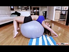 Sexy stepmother workout with her huge gummyball