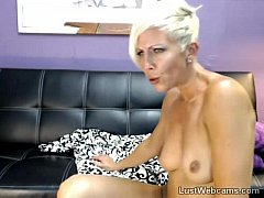 Hot blonde MILF plays with her pussy on cam