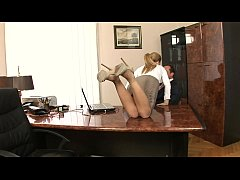 Gorgeous secretary Brooklyn Lee gets her ass and pussy licked before getting banged hard on desk