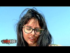 Hot Spanish milf Raquel Abril , stripping at the beach