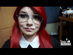 Nerdy schoolgirl sucks cock