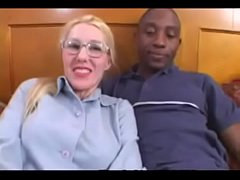 Blonde Amateur Librarian takes a Black Cock stuffing in Interracial Video