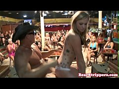 Amateur CFNM babes blowing stripper dick