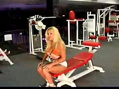 Ashley Lawrence (Fembomb) Pumping iron at the gym.