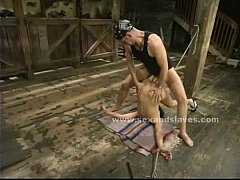 Slut in chains gets a hell of a spanking before getting used as a cock lunch