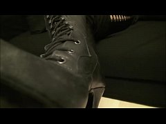 Mistress Roberta boots cleaning POV