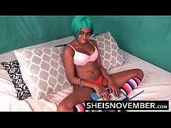 60fps Squirting Thin Ebony Cosplay Model Clothed In Long Socks And Bra Masturbate Her Little Cunt With Panties Off With Smooth Tender Thighs Apart HD Sheisnovember