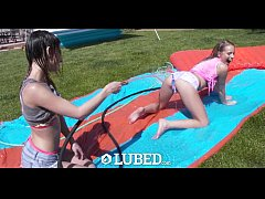 LUBED - Slip and Slide threesome with Kristen Scott and Scarlett Sage