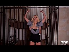 Humiliation in the prison cell makes Sienna Day scream during anal stuffing