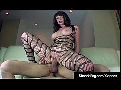hot canadian cougar shanda fay rides her camera man s swollen hard cock creaming up and down his shaft while wearing a hot body stocking where her nipples and clit pop out of