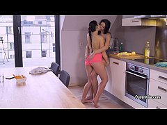 HD Kira Queen and her GF hot lesbo action in the kitchen