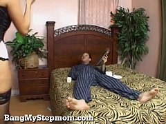Hot Stepmom In Lingerie Seduces Her Stepson!