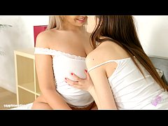 Rebecca Volpetti and Briana Bounce in lesbian scene Birthday in bed by Sapphix