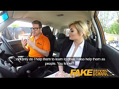 fake driving school posh horny busty examiner swallows a big load