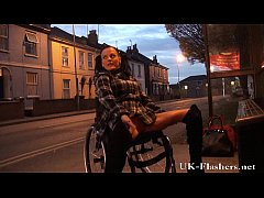 Leah Caprice flashing pussy in public from her wheelchair with handicapped engli